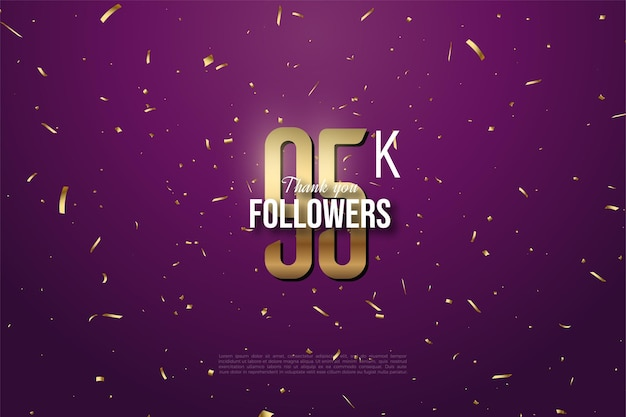 95k followers with numbers and gold spots on purple background