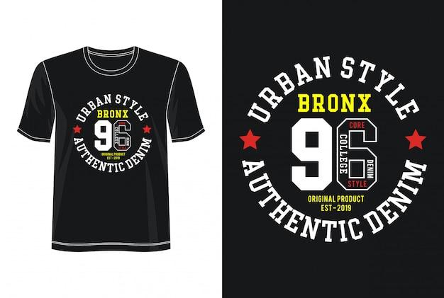 ブロンクス96タイポグラフィfo rprint tシャツ