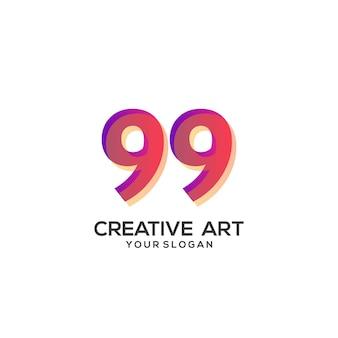 99 숫자 로고 그라데이션 디자인 화려한