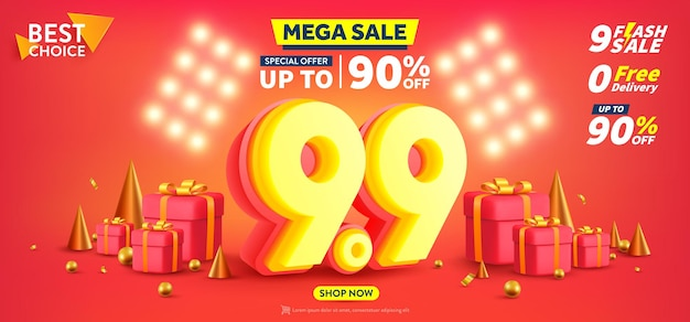 99 shopping day poster or banner with gift box on red background