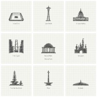9手作り世界の記念碑セット