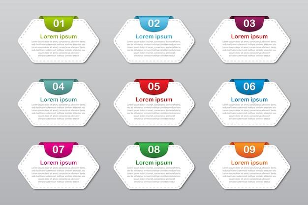 9つの番号を持つインフォグラフィック要素オプションテンプレートのセット。インフォグラフィック