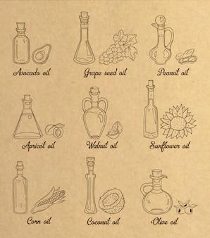 9 коричневых растительных масел в винтажном стиле сепия.