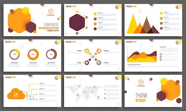 9つのビジネスプレゼンテーションテンプレートレイアウトのセット。