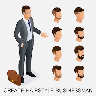 トレンディな等尺性セット9、定性的研究、男性のヘアスタイル、ヒップスタースタイルのセット。