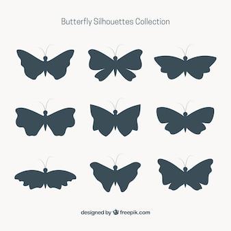 9蝶のシルエットのセット