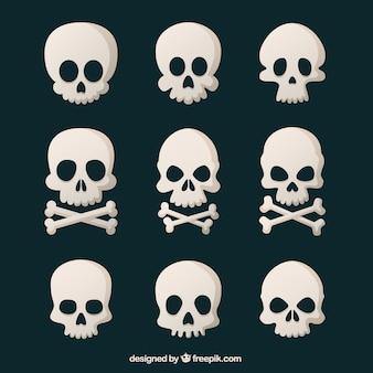 フラットなデザインの9個の頭蓋骨の品揃え