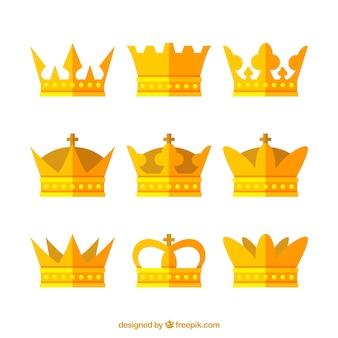 平らなデザインの9つの金のクラウンの品揃え