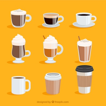 9つのコーヒーカップのコレクション