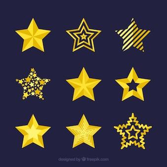 9つの黄色の星のコレクション