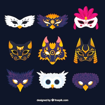 9つのカーニバルマスクのコレクション