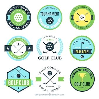 9つのゴルフレーベルのセット