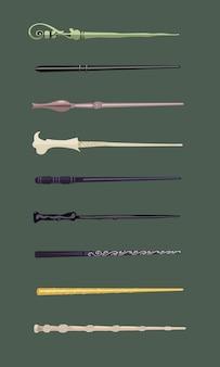 魔女と魔法使いのための9つの異なる魔法の杖のセットヴィンテージスティック魔術学校のファンタジーゲーム