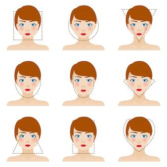 別の女性の顔の形を設定します。 9つのアイコン。青い目、赤い唇、茶色の髪の女の子。カラフルなイラスト。