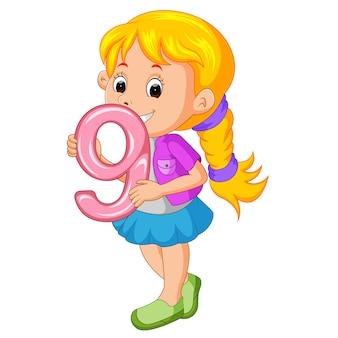 かわい子、数字の9の風船