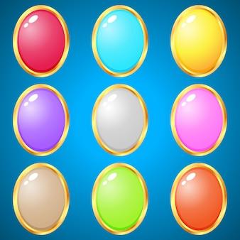 パズルゲーム用の楕円形の9色の宝石。