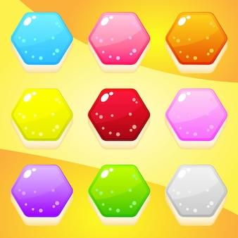 パズルゲームのためのゼリー形の六角形9色。