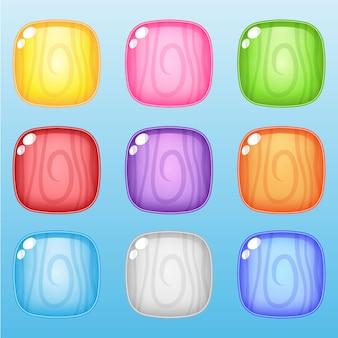 ゲーム用のアイコンとシェイプのスクエアラインウッド9色。