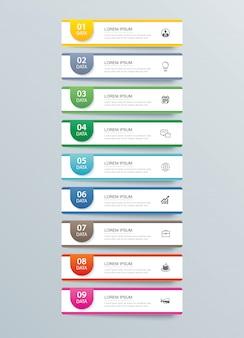 9データインフォグラフィックタブ紙インデックステンプレート。