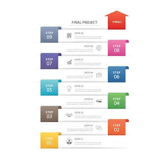 9データインフォグラフィックタイムラインタブ紙インデックステンプレート。