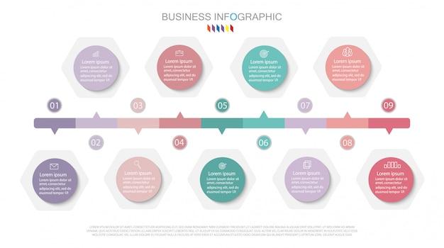 Инфографики дизайн диаграммы бизнес-концепция с 9 вариантами.