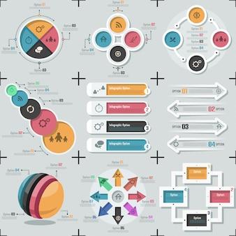 9つのフラット最小限のインフォグラフィックテンプレートのセット。ベクター。ウェブデザイン、ワークフローに使用できます