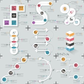 Набор из 9 плоских минимальных инфографики шаблонов