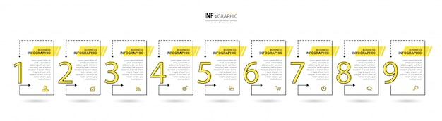 9つのステップタイムラインインフォグラフィックデザインテンプレート。