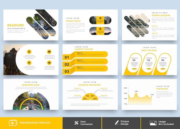 プロフェッショナルなプレゼンテーションデザインテンプレート9ページ