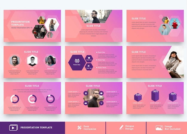 モダンな背景を持つビジネスプレゼンテーションデザインテンプレート9ページ