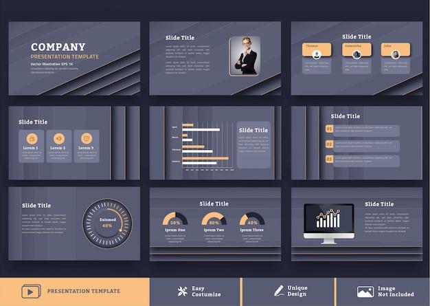 豪華で未来的な企業プレゼンテーションデザインテンプレート9ページ