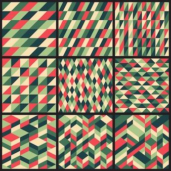 9レトロなベクターのシームレスパターンのセット