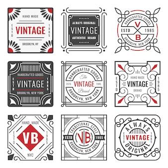 9つのスタイリッシュなラインの徽章のセットです。装飾的な幾何学的なフレームと枠線。モダンなビンテージロゴのテンプレート
