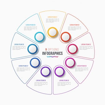 9部品のインフォグラフィックデザイン、円グラフ