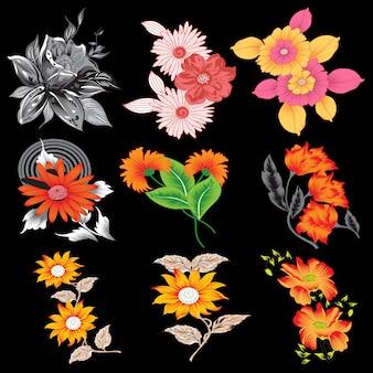 Искусственные цветы для полиграфии 9 комплектов цветов, сделанных на тени