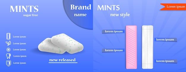 Жевательная резинка пузырь баннер набор. реалистичная иллюстрация 9 жевательных резинок для веб-баннера