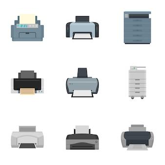 Значок принтера установлен. плоский набор из 9 принтеров векторных иконок