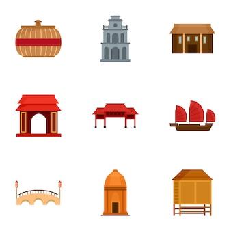 Набор иконок вьетнам. плоский набор из 9 векторных иконок вьетнам