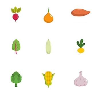 Набор иконок овощей. плоский набор из 9 растительных векторных иконок