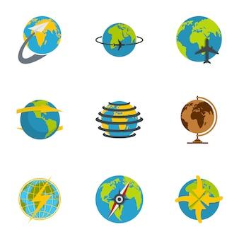 地球のアイコンを設定します。 9地球のアイコンのフラットセット