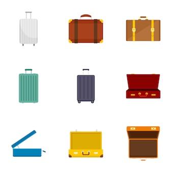 旅行スーツケースのアイコンを設定します。 9旅行スーツケースアイコンのフラットセット