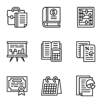 Значок налога установлен. наброски набор из 9 налоговых иконок