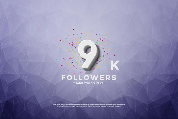 9k последователей с 3d-числами на фоне кристальной бумаги