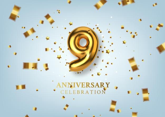 金色の風船の形で9周年記念番号。