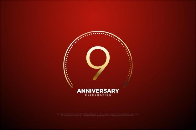9-я годовщина с круговыми золотыми точками и полосами.