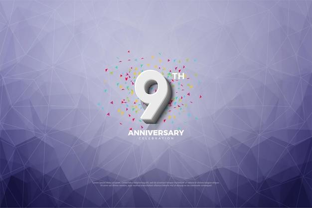 9-я годовщина с иллюстрацией фона кристальной бумаги.