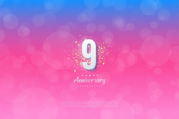 9th anniversary with gradient from blue to pink.