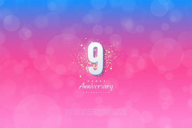 파란색에서 분홍색으로 그라데이션이있는 9 주년.