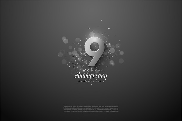 9th anniversary with great 3d silver number.