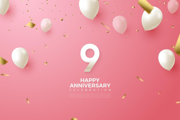 9th anniversary with  of number and flying white balloons.